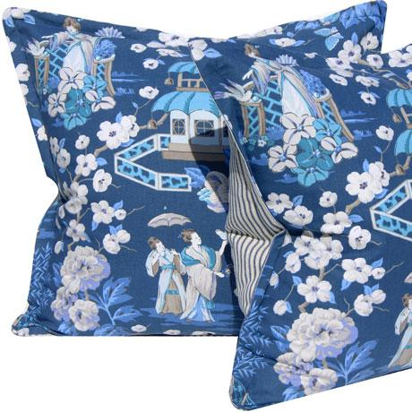Asian Blue & White Chinoiserie Pillow Cover For Sale - Image 3 of 5