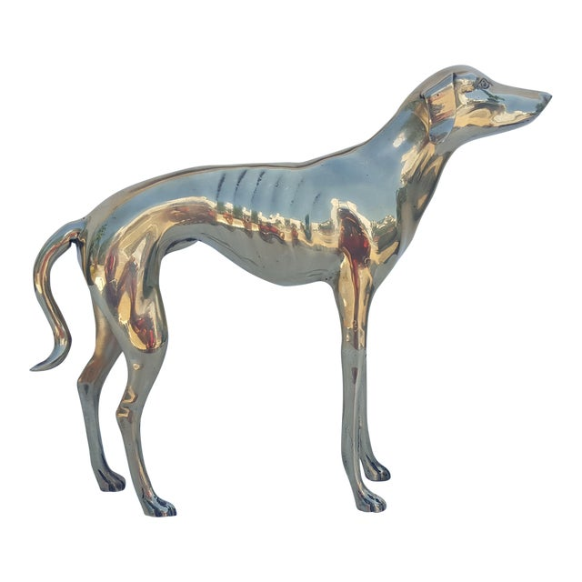 Hollywood Regency Brass Sculpture of Whippet or Greyhound Dog For Sale
