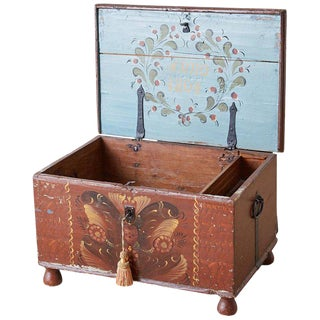 Early 19th Century Swiss Polychrome Blanket Chest Trunk For Sale
