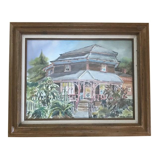 1980's Vintage Santa Cruz Watercolor Painting by Beryl Johns For Sale