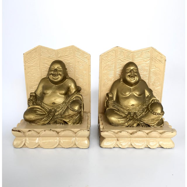 Vintage Chinese Smiling Buddha bookends - A Pair For Sale - Image 11 of 11