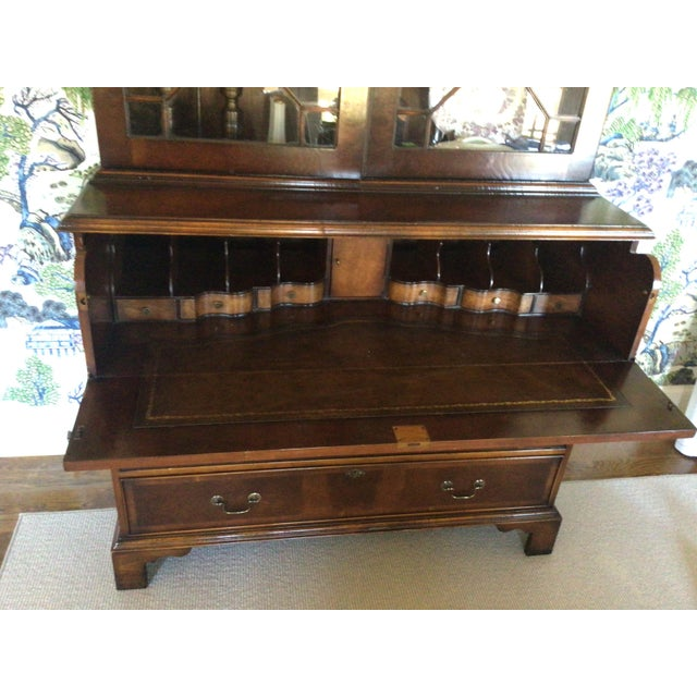 2000 - 2009 Custom Made English Breakfront Secretary in Chinese Chippendale Style For Sale - Image 5 of 11