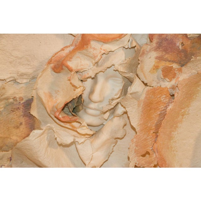 Versace Inspired Marcia Mazur-Gold and Ross Mazur Mid Century Handmade Paper Sculpture Painting For Sale - Image 4 of 11