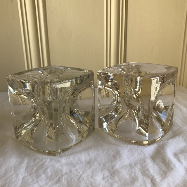 Transparent Artisan Geometric Glass Candle Holders - A Pair For Sale - Image 8 of 11