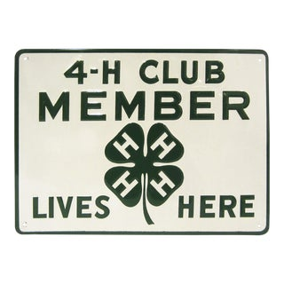 Vintage 4-H Club Member Embossed Sign