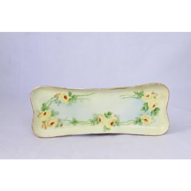 Antique Hand-Painted Porcelain Yellow Rose Trinket Tray For Sale - Image 11 of 11