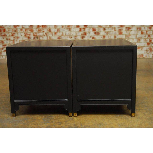James Mont Style Century Furniture Lacquer Nightstands - a Pair - Image 9 of 10