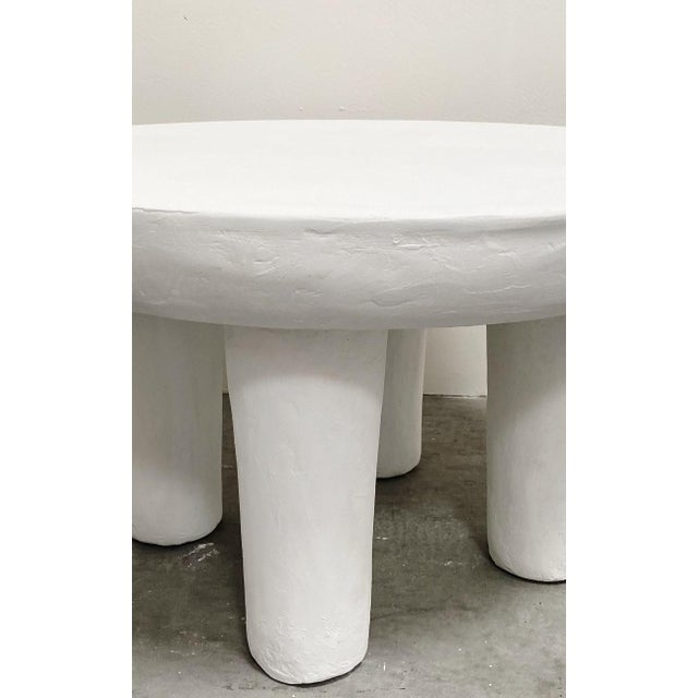 Mediterranean The Zanzibar Low Round Plaster Accent Table For Sale - Image 3 of 3