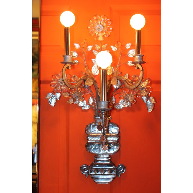 French C1845 Maison Bagues Museum Quality Huge Crystal Floral Sconces/ Wall Lamps-Signed in Bronze - a Pair For Sale - Image 3 of 12
