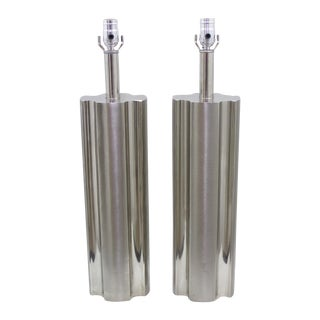 Laurel Mid-Century Tall Chrome Lamps - A Pair
