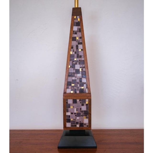 Wood Pair of Mosaic Lamps, 1950s For Sale - Image 7 of 9