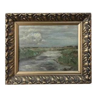 Antique Framed Impressionist Oil Painting on Board For Sale