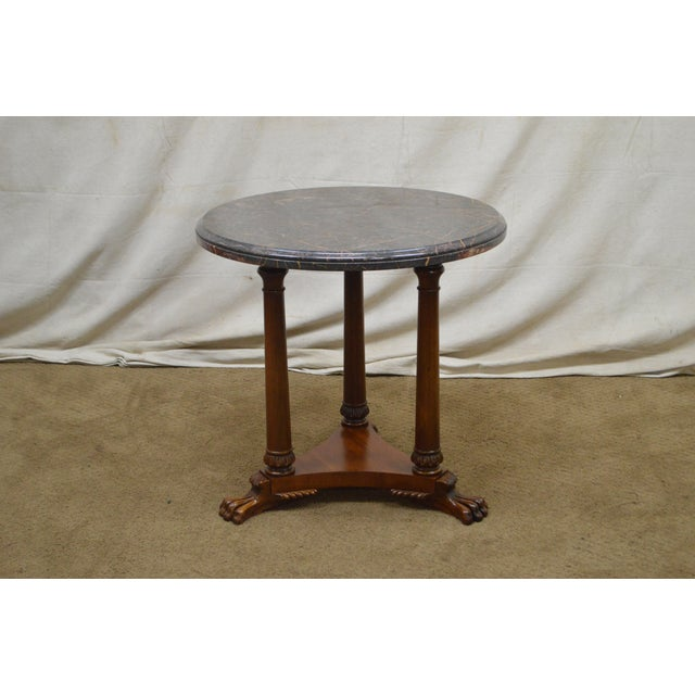 Foot Side Table For Item 16783 Ax Henredon Regency Style Round Marble Top Mahogany Claw