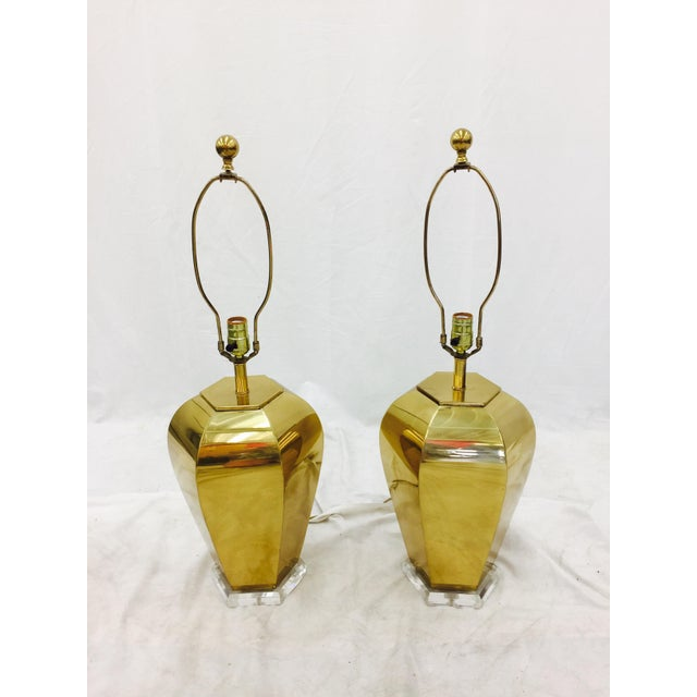 Vintage Brass & Lucite Base Lamps - Image 5 of 10