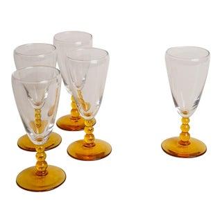 1960s Amber Ball Stem Glasses - Set of 5 For Sale