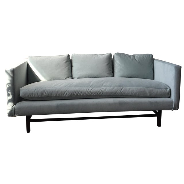 Mid-Century Rosewood Sofa in Mint Microsuede - Image 1 of 10