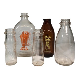 Vintage Milk Bottles - Set of 5 For Sale