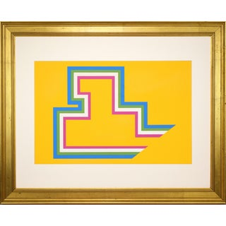 Vintage Mid Century Modern Geometric Abstract Silkscreen For Sale
