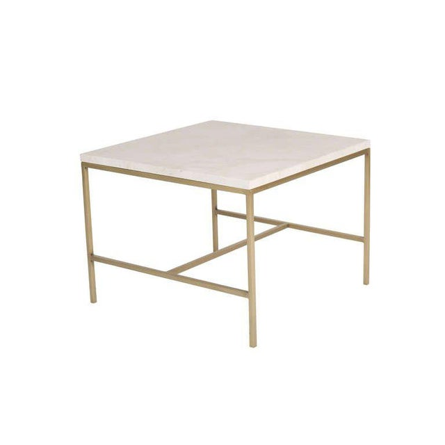 Brass Frame H Base Travertine Top Side Table .Half inch square stock satin brass frame supports natural honed travertine...