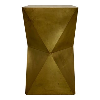 Brass Clad Faceted Table For Sale