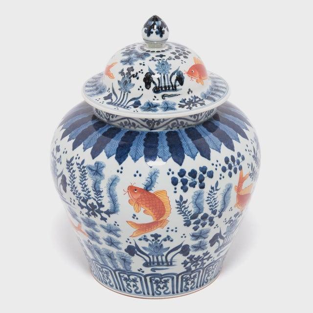 Underglaze Indigo and Copper Fish Jar For Sale - Image 4 of 7