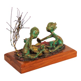 Vintage Carole Stupell Bronze Boy and Girl Playing Sculpture For Sale