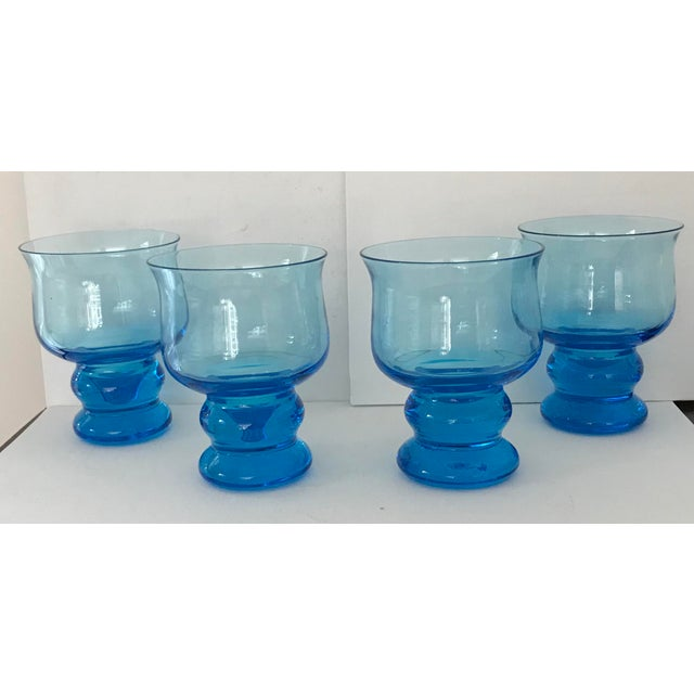 Vintage Hand Blown Rocks Glasses Aqua Blue Turquoise - Set of 4, (10 Available) For Sale - Image 11 of 11