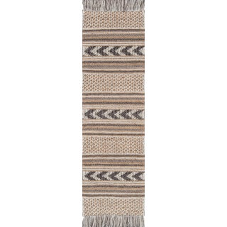 "Esme Charcoal Hand Woven Area Rug 2'3"" X 7'6"" Runner For Sale"