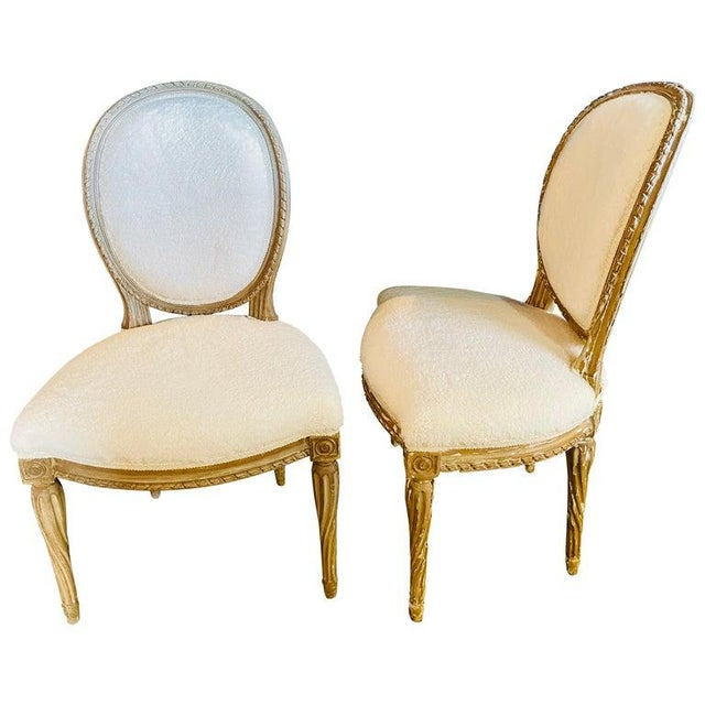 Pair of Jansen Distressed Sherpa Upholstered Side Chairs For Sale - Image 10 of 10