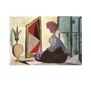 """Pablo Picasso Femme Au Miroir 27.5"""" X 35.5"""" Poster 1989 Cubism Multicolor, Brown, Red, Blue Woman, Miror For Sale"""