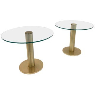Pace Collection Satin Brass and Glass Side Tables - a Pair For Sale