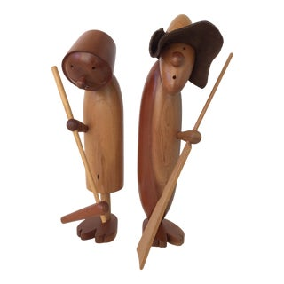 1970s Mid-Century Wood Man and Woman Farmer Figurines - a Pair For Sale