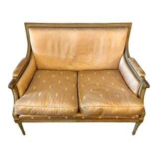 Painted and Parcel Gilded Marquise Settee with Silk Upholstery by Maison Jansen