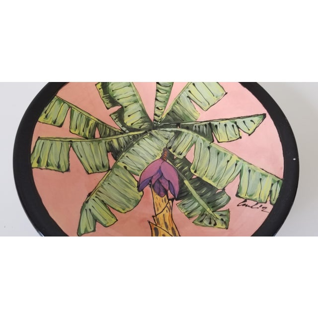 80's Vintage Tropical Decorative Ceramic Bowl , Signed . For Sale - Image 4 of 8
