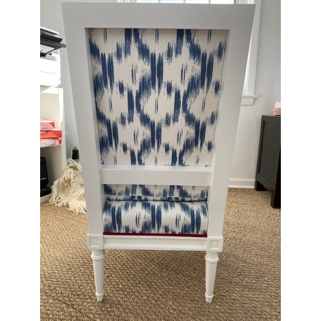 French Blue Ikat Slipper Chair For Sale - Image 3 of 5