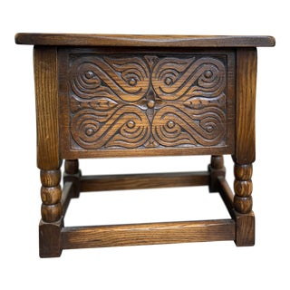 Early 1800s Oak Hand Carved Chest For Sale