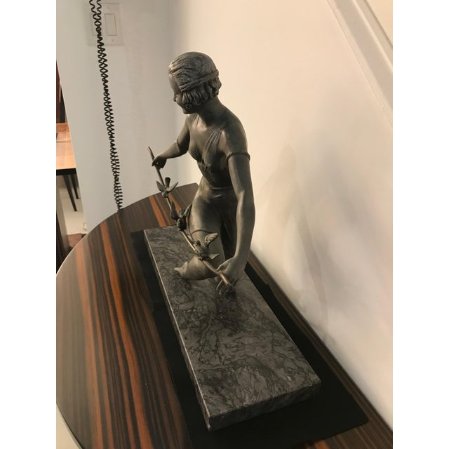 Early 20th Century French Art Deco Female Sculpture on Marble For Sale - Image 5 of 13