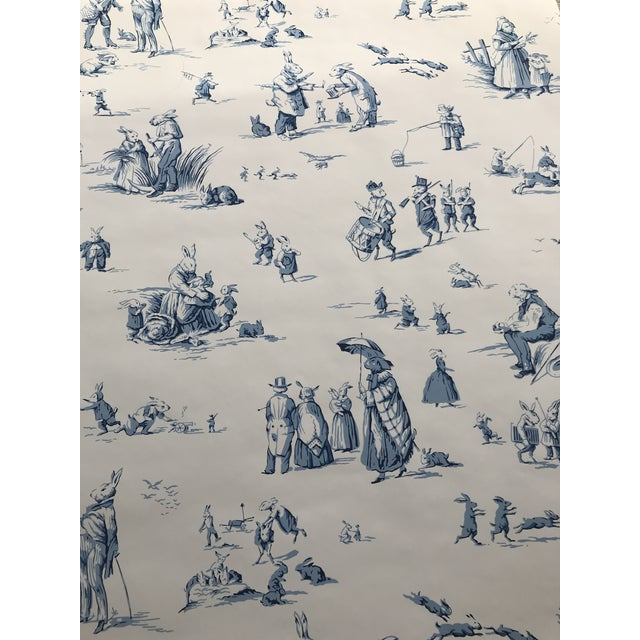 "Blue Brunschwig & Fils Wallpaper ""Bunny Business"" Roles - Two Triple Rolls For Sale - Image 8 of 8"