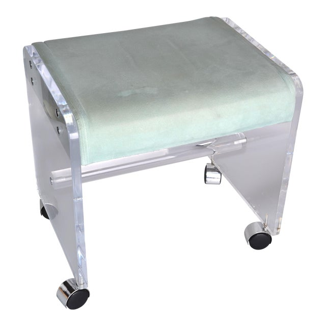 Mid-Century Modern Lucite Stool On Casters For Sale