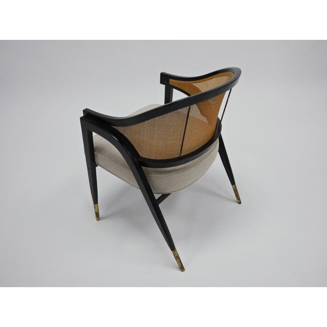Dunbar Furniture Caned back occasional chairs by Edward Wormley for Dunbar For Sale - Image 4 of 11