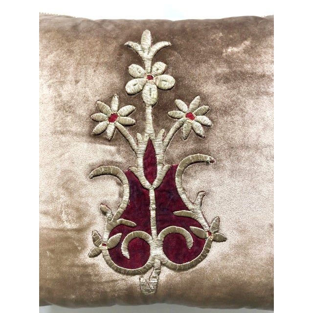 Baroque 19th Century Metallic Silver Wire Floral Embroidery Brown Velvet Pillow For Sale - Image 3 of 13