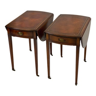 Vintage Federal Mahogany Leather Top Inlaid Pembroke / Drop Leaf Side Tables - a Pair For Sale