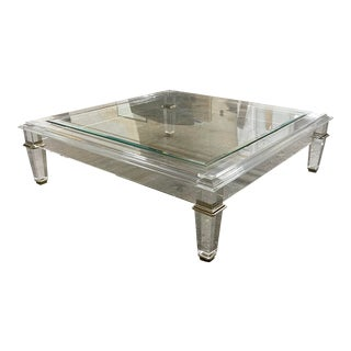 Signature Furniture Pierre Acrylic & Brass Square Cocktail Table For Sale