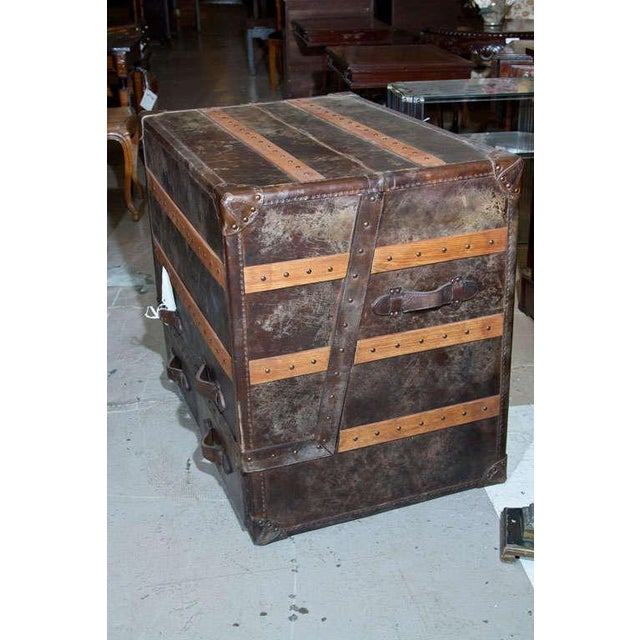 Leather and Cowhide Trunk Desk For Sale - Image 4 of 9