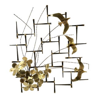 Brutalist Metal Wall Sculpture For Sale