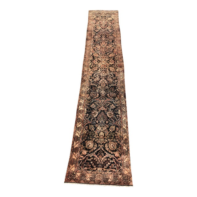 """1960s Persian Malayer Wool Runner - 3'5""""x19'4"""" For Sale"""