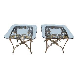 Vintage Unique Leaf & Vine Glass Top End Tables - a Pair