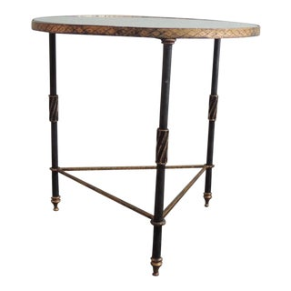 Round Hollywood Regency Iron Side Table with Mirror Top
