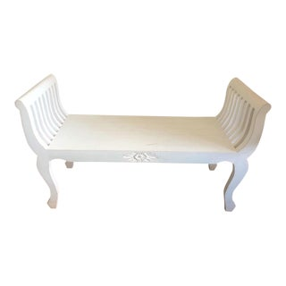 White Wood Bench With Floral Motif For Sale