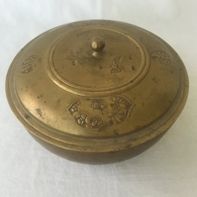 Asian Vintage Brass Lidded Bowl For Sale - Image 3 of 6